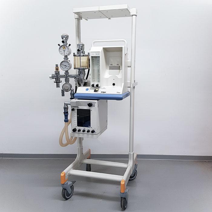 Mobiles Narkosegerät Titus mit Fahrgestell und Ventilog C- Dräger. Gebrauchtgerät.   TSL Medizintechnik